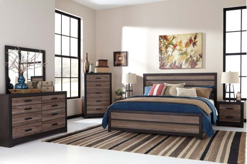 Harlinton - Warm Gray/Charcoal 3 Piece Bed Set (King)