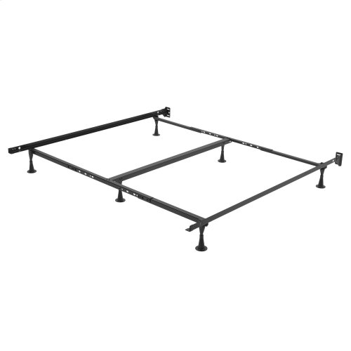 Restmore TK45G Universal Sized Single Angle Cross Support Bed Frame with Fixed Headboard Brackets and (6) 2.5-Inch Glide Legs