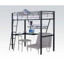 Silver/bk Loft Bed W/desk @n