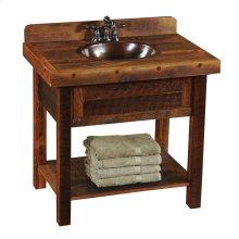 Barnwood Freestanding Open Vanity with Shelf - without Top - Barnwood Legs- with Towel Bar