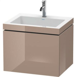 Furniture Washbasin C-bonded With Vanity Wall-mounted, Cappuccino High Gloss Lacquer