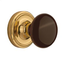 Nostalgic - Single Dummy Knob - Classic Rosette with Brown Porcelain Knob in Unlacquered Brass