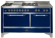 "Stainless with Brass trim 60"" Majestic Solid Door 6 Burner Dual Fuel Range + French Top"