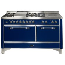 """Midnight Blue with Brass trim 60"""" Majestic Solid Door 6 Burner Dual Fuel Range + French Top"""