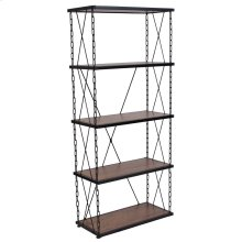 Antique Wood Grain Finish Four Shelf Bookshelf with Chain Accent Metal Frame
