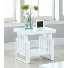Transitional Glossy White End Table