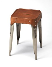 At 18 high, this stooland essenttial addition to the kitchen, a rustic vanity or seating area. The long Iron legs support a genuine brown leather seat. Pull up a seat and sit a spell!