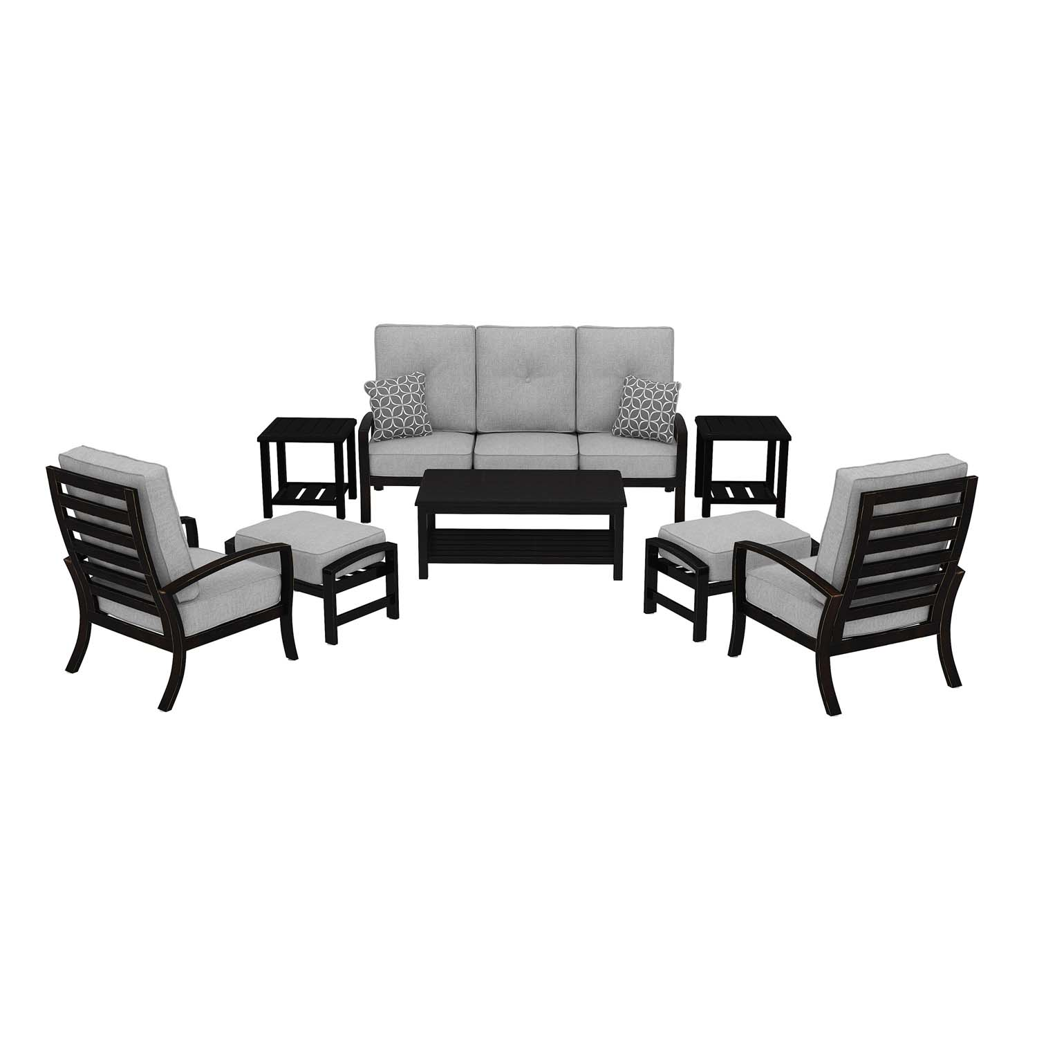 Castle Island   Dark Brown 8 Piece Patio Set