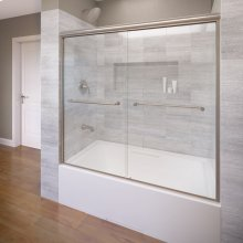 Euro Frameless Sliding Tub Shower Doors - Brushed Nickel