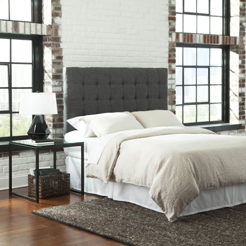 Strasbourg Upholstered Adjustable Headboard Panel with Solid Wood Frame and Button-Tufted Design, Charcoal Finish, Full / Queen