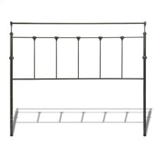 Winslow Metal Headboard Panel with Castings and Straight Top Rails, Mahogany Gold Finish, Queen