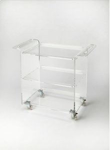 This contemporary trolley server will stylishly enhance your space. Featuring a Clear Acrylic Finish, it is hand crafted from clear acrylic.