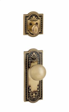 Grandeur - Single Cylinder Combo Pack Keyed Differently - Parthenon Plate with Fifth Avenue Knob and Matching Deadbolt in Vintage Brass