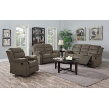 Candice Taupe Fabric Reclining Sofa