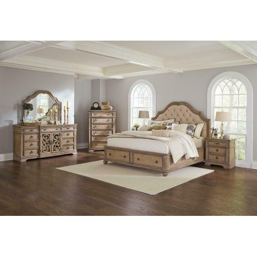 Ilana Traditional Antique Linen Eastern King Bed