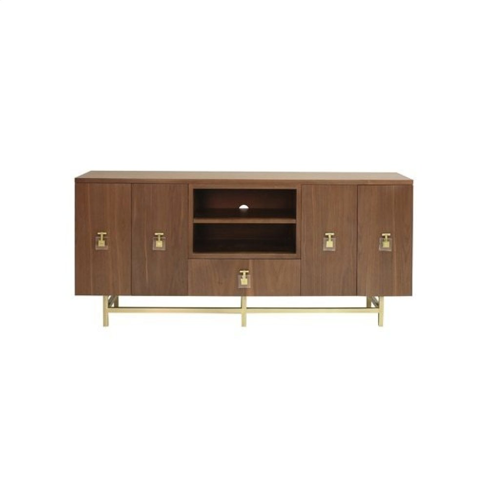 Ashwood Media Console With Antique Brass Base and Acrylic Hardware