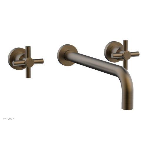 "Basic Wall Tub Set 12"" Spout - Tubular Cross Handles D1134-12 - Old English Brass"