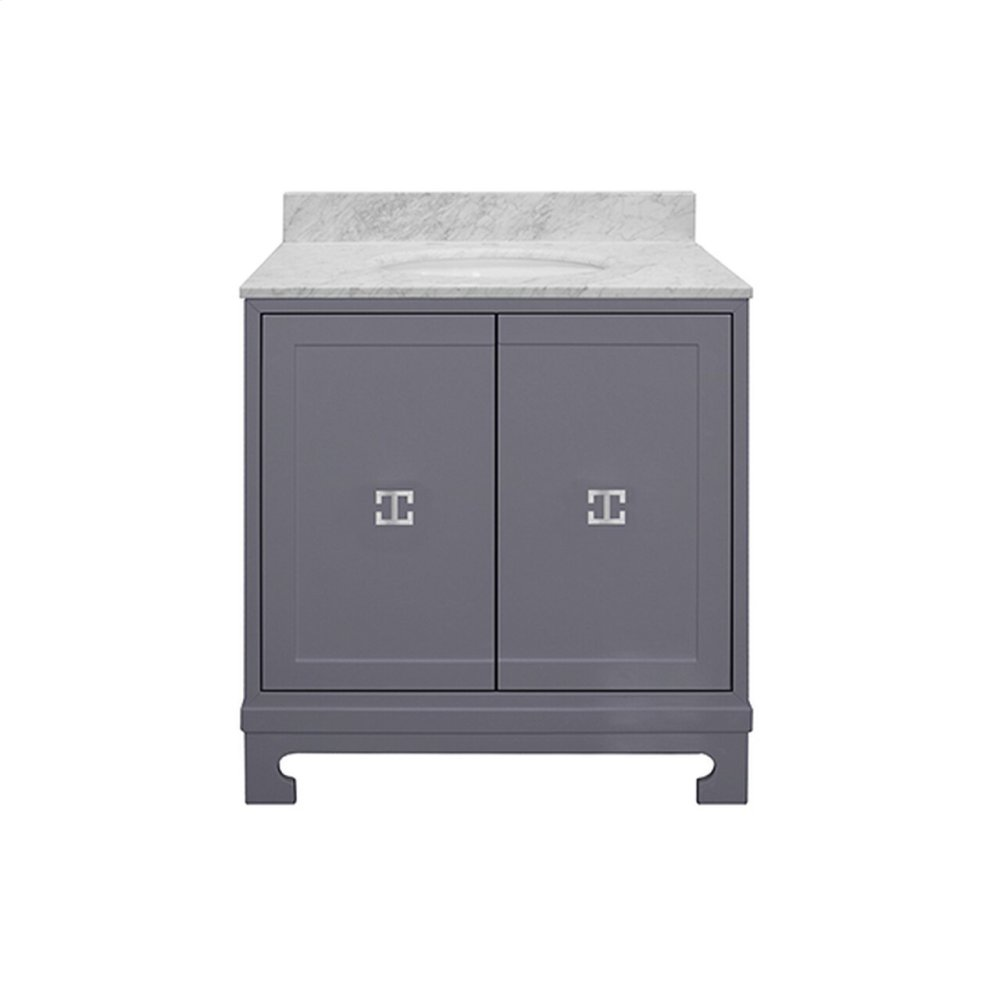 """Two Door Dark Grey Lacquer Bath Vanity With Nickel Hardware and White Carrara Marble Top Features: - White Porcelain Sink Included - Optional White Carrara Marble Backsplash Included - for Use With 8"""" Widespread Faucet (not Included) -one Adjustable/removable Interior Shelf"""