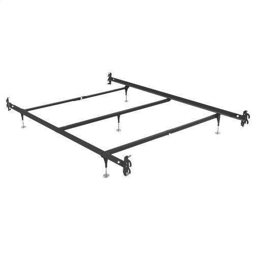 Fashion Bed Rails 1005H Brass Bed Frame System with Hook-On Headboard Brackets and (5) Adjustable Leg Glides, Queen