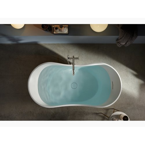"""Honed White 66"""" X 32"""" Freestanding Bath With Center Toe-tap Drain"""