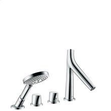 Chrome 4-hole tile mounted thermostatic bath mixer