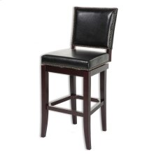 Sacramento Wood Barstool with Black Upholstered Nail head Trim Swivel-Seat and Espresso Frame Finish, 30-Inch