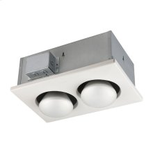 Two-Bulb Heater, (2) 250W BR40 Infrared Bulbs, Type IC, UL Listed for 60°C Wiring (retrofits)
