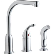 Elkay Everyday Kitchen Deck Mount Faucet with Remote Lever Handle and Side Spray Chrome