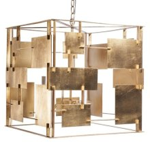 Gold Leaf Square Chandelier With Abstract Square & Rectangular Details