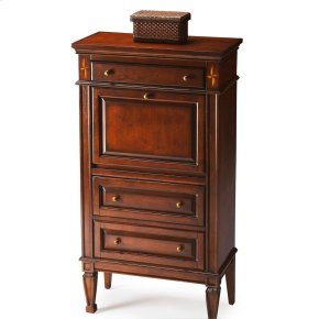 Selected solid woods, wood products and choice veneers. Cherry veneer top, sides, drawer fronts and front panel of drop front. Writing surface on reverse side of drop front is cherry veneer. Decorative inlays of maple and walnut veneers. Three drawers on