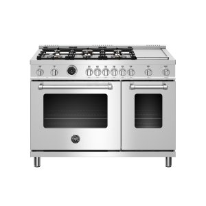 BERTAZZONI48 inch Dual Fuel Range, 6 brass burners and Griddle, Electric Self-Clean Oven Stainless Steel