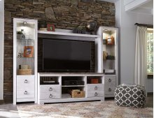 Willowton - White Wash 4 Piece Entertainment Set