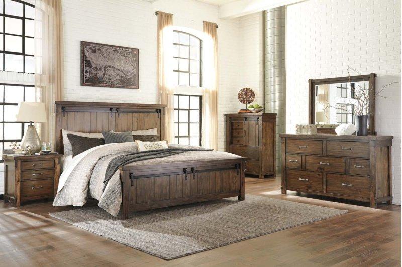 Lakeleigh Brown 5 Piece Bedroom Set Hidden