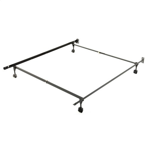 Sentry 78/60R Adjustable Bed Frame with Headboard Brackets and (4) 2-Inch Rug Roller Legs, Powder Coat Finish, Twin - Queen