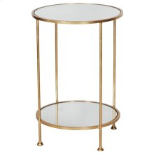 2 Tier Gold Leafed Side Table W. Plain Mirror Tops.
