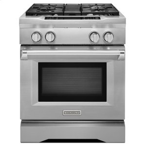 KitchenAid30'' 4-Burner Dual Fuel Freestanding Range, Commercial-Style Stainless Steel