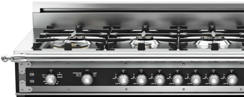 48 inch All Gas Range, 6 Brass Burner and Griddle Matt Black