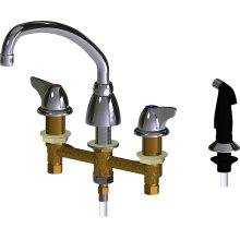 """Deck-mounted manual sink faucet with 8"""" centers"""