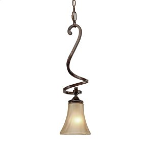 Loretto Mini Pendant in Russet Bronze with Riffled Tannin Glass