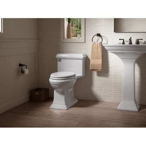 Biscuit Comfort Height One-piece Elongated 1.28 Gpf Toilet With Aquapiston Flushing Technology and Left-hand Trip Lever