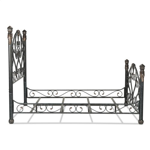 Duchess Complete Bed with Side Rails and Carved Castings, Cerulean Marble Finish, Queen