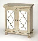 Equal parts style and function, this versatile mirrored accent cabinet is a welcome addition to your entryway, living room, or dining room. This piece features four doors with a lattice overlay and mirrored glass panels, a glamorous way to store, serve wa Product Image