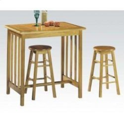 3pc Breakfast Set Oak/ter Tile