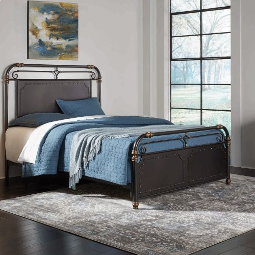 Westchester Metal Headboard and Footboard Bed Panels with Vintage-Inspired Design and Nailhead Detail, Blackened Copper Finish, King