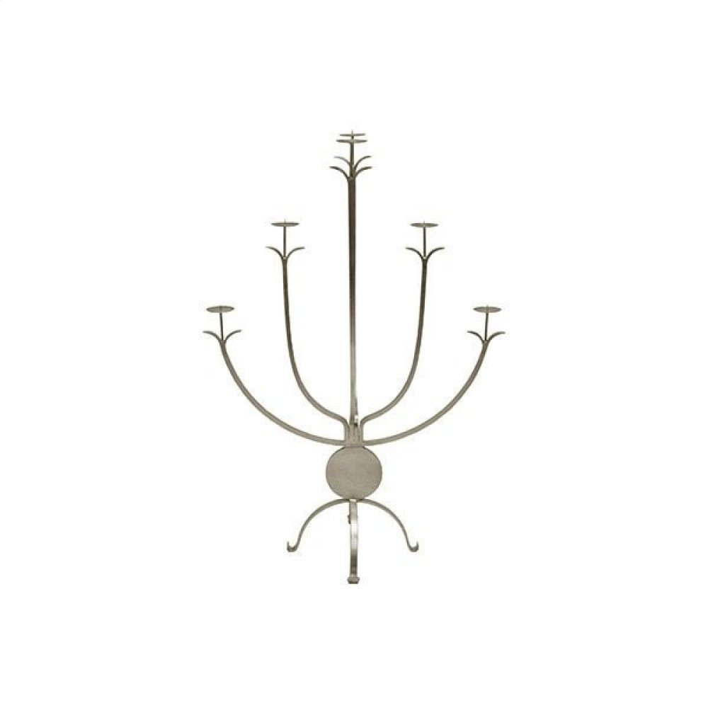 Large Five Arm Candle Holder In Silver