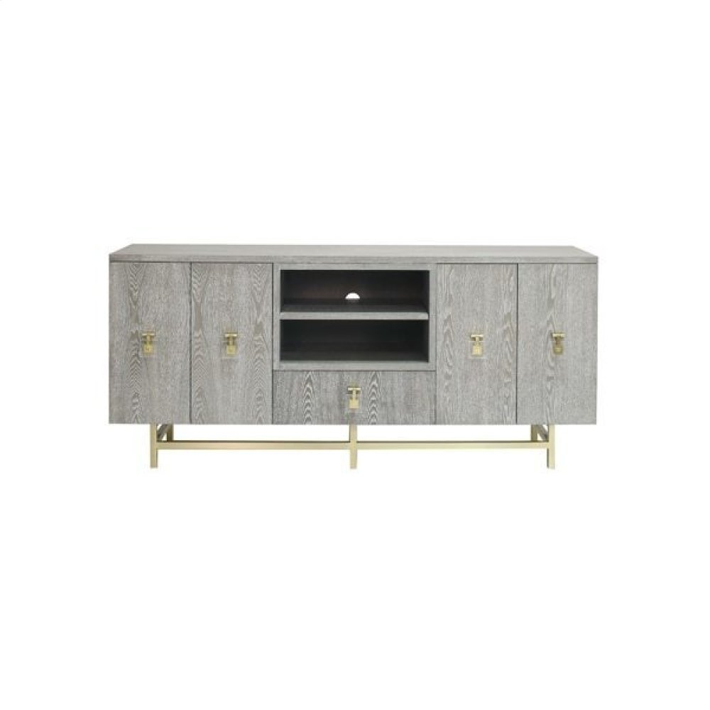 Grey Cerused Oak Media Console With Antique Brass and Acrylic Hardware