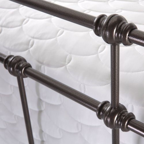 Dexter Complete Metal Bed and Steel Support Frame with Decorative Castings and Finial Posts, Hammered Brown Finish, Queen