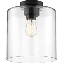 Chantecleer - 1 Light Semi-Flush Fixture; Matte Black Finish with Clear Glass