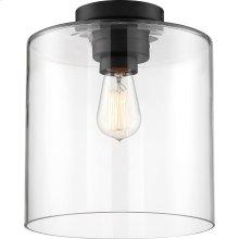Chantecleer - 1 Light Semi-Flush Fixture; Matte Black Finish with Clear Glass