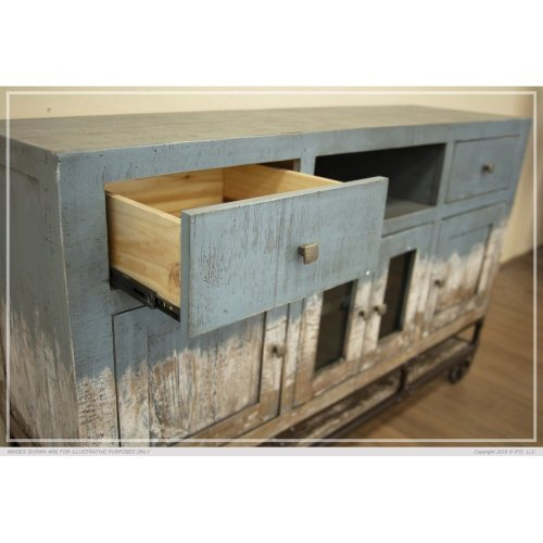 2 Drawer, 4 Door, TV Stand Blue Finish